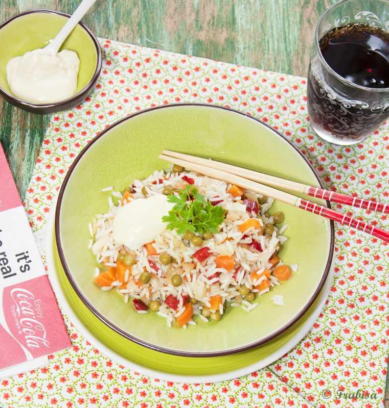 arroz, frito, verduras
