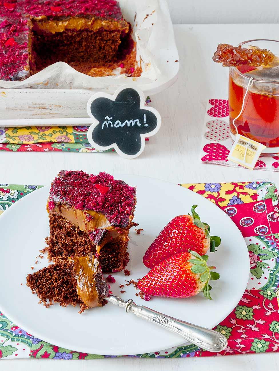 tarta, chocolate, dulce de leche
