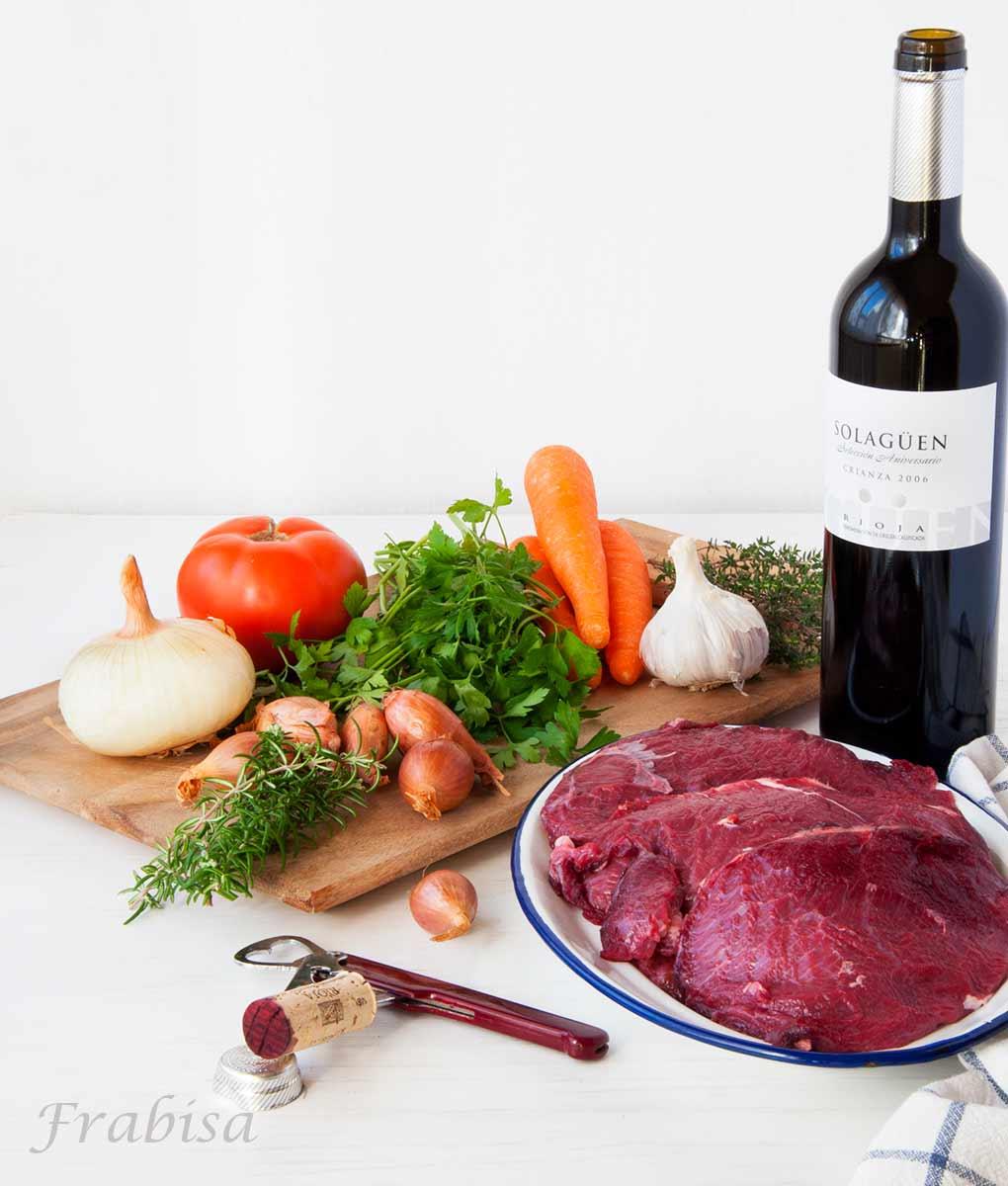 Carrilleras de ternera gallega guisadas en vino tinto