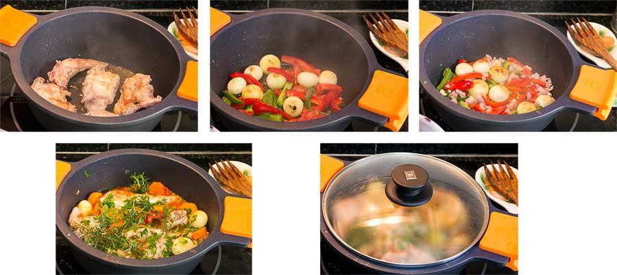 conejo, estofado, guiso, salsa tomate, zanahorias