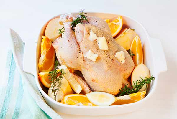 pollo-citricos-horno- manzana,, naranja, limon
