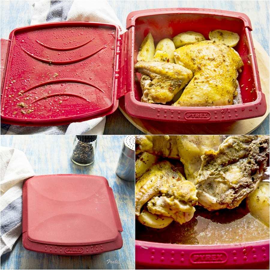 pollo, patatas, asado, vapor, microondas 2