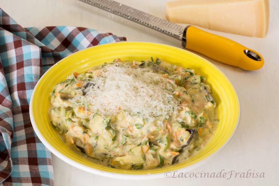 tortitas, verduras, guarnicion, zanahoria, calabacin, berenjena