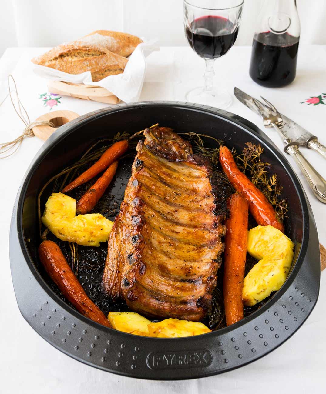costilla, asado, horno, miel, zanahoriasl,