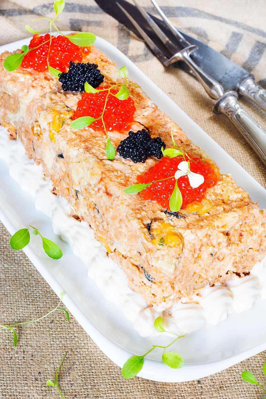 pastel, bacalao, mejillones, tortitas, verduras