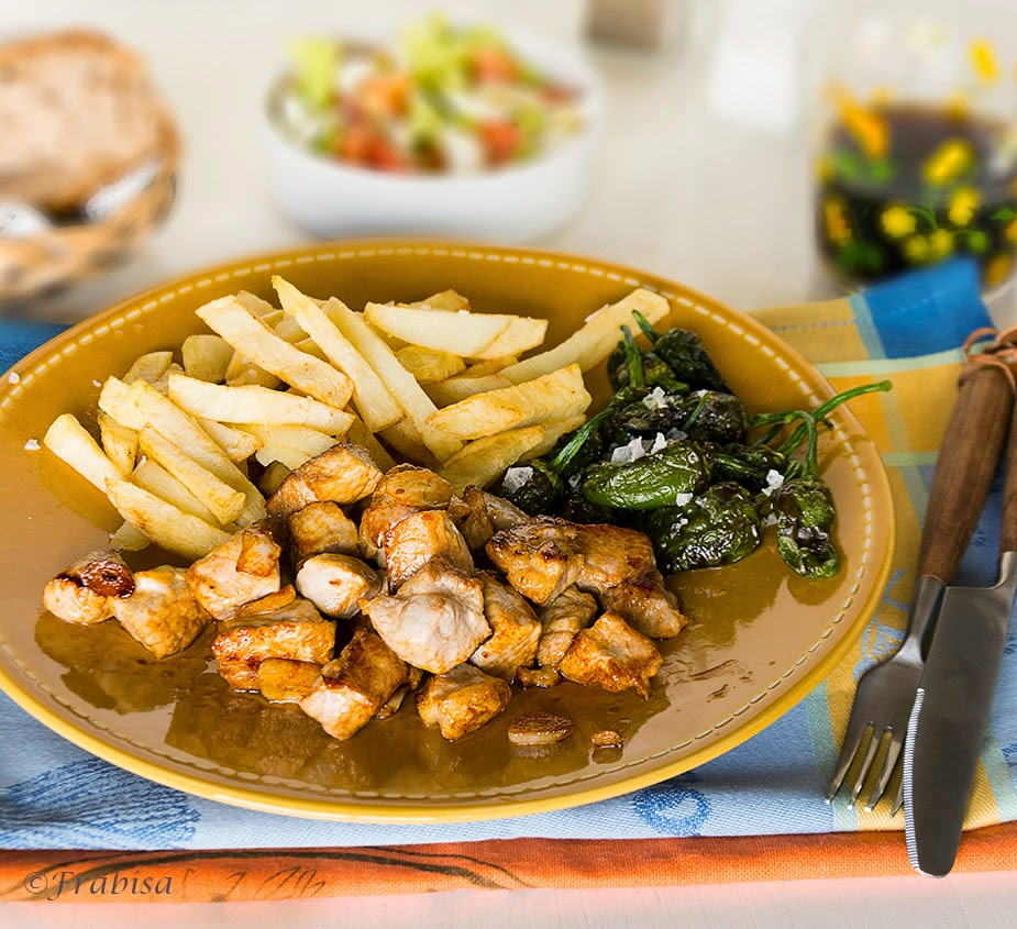 Raxo Con Patatas Y Pimientos De Padron Cocina Gallega La Cocina