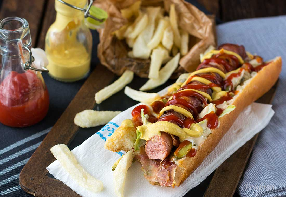 Hot-Dogs-salchichas, ketchup, mostaza, fast food, street food