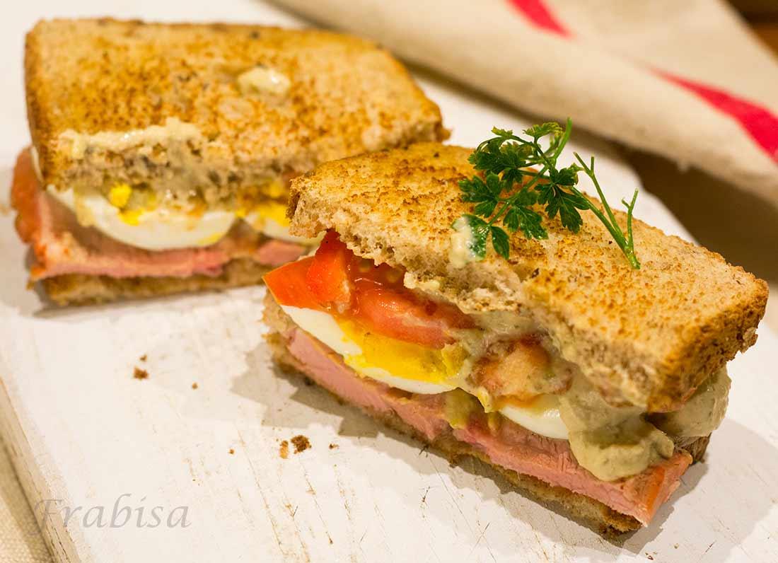 sandwich, jamon, salsa, atun