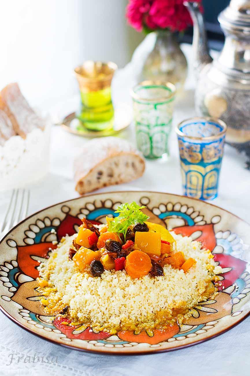 receta-marroquí-taboule, couscous, pollo, verduras