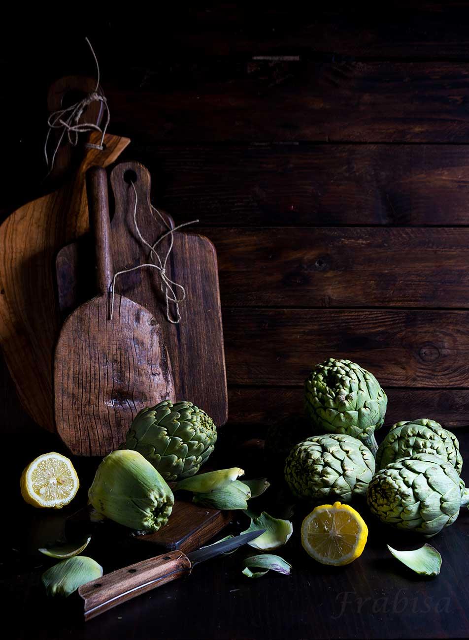 Alcachofas rellenas de champiñones y jamon