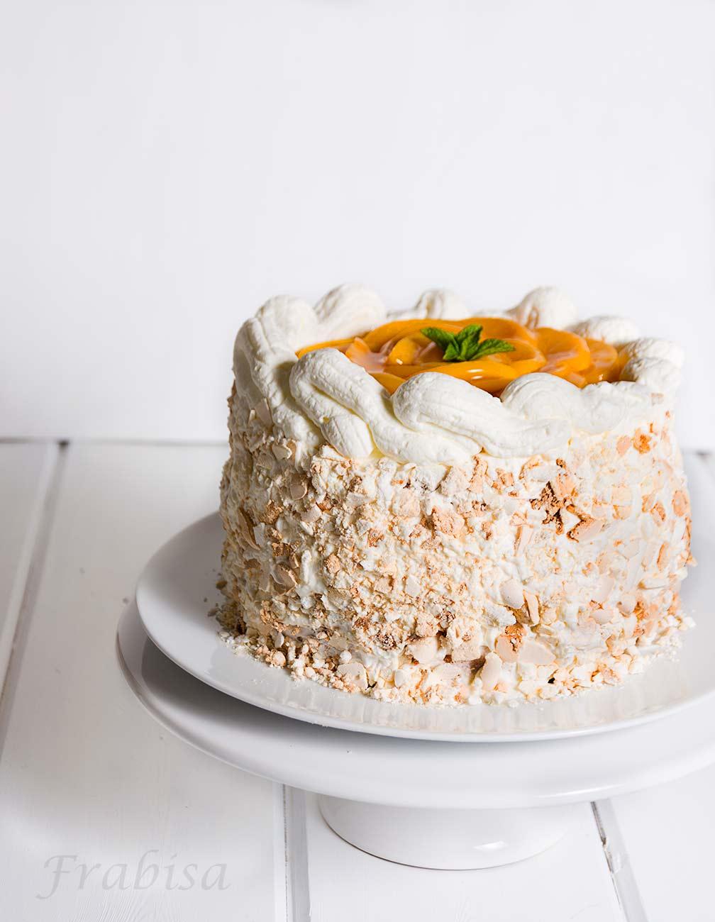 Layer Cake, Postre Chaja, Cuisine companion Moulinex, merengue, melocotones, postre