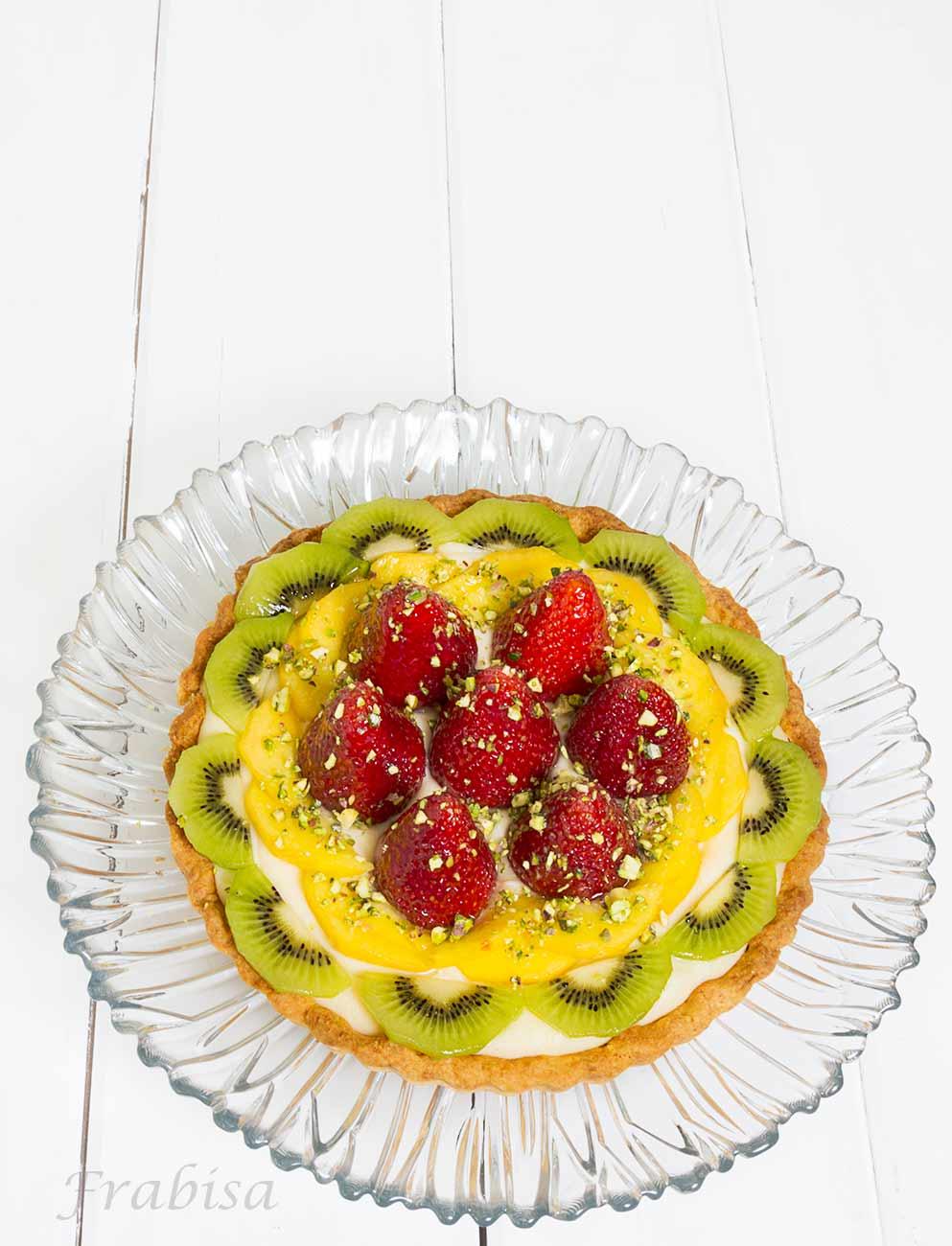 tarta, frutas, crema, pistachos