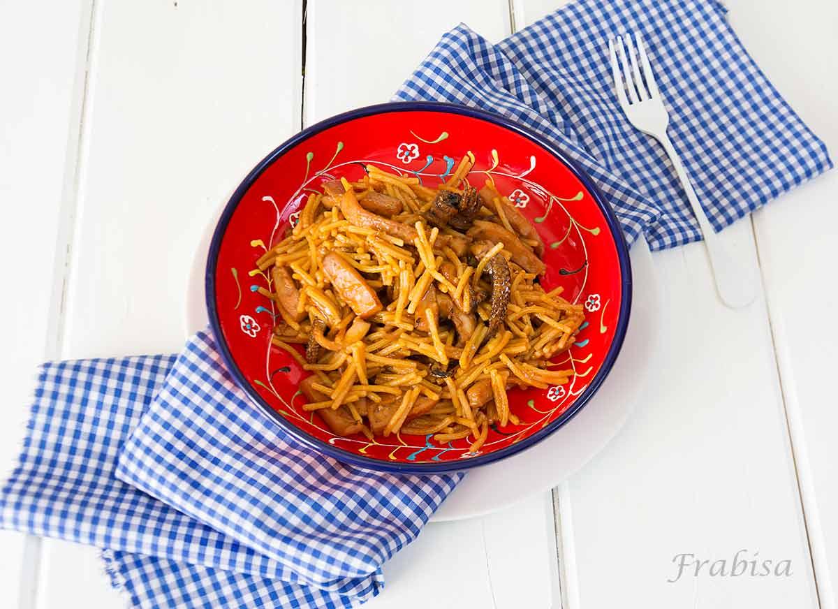 fideos-choco-calamares, receta, guiso