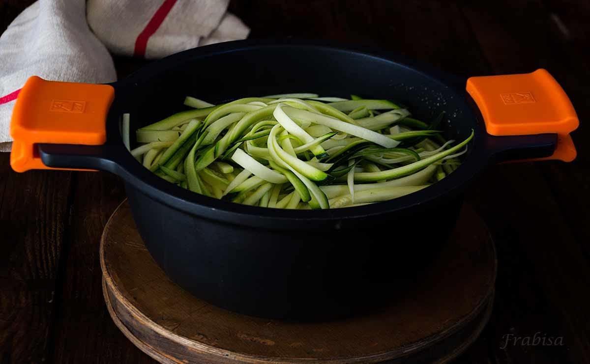 receta, tallarines, calabacin