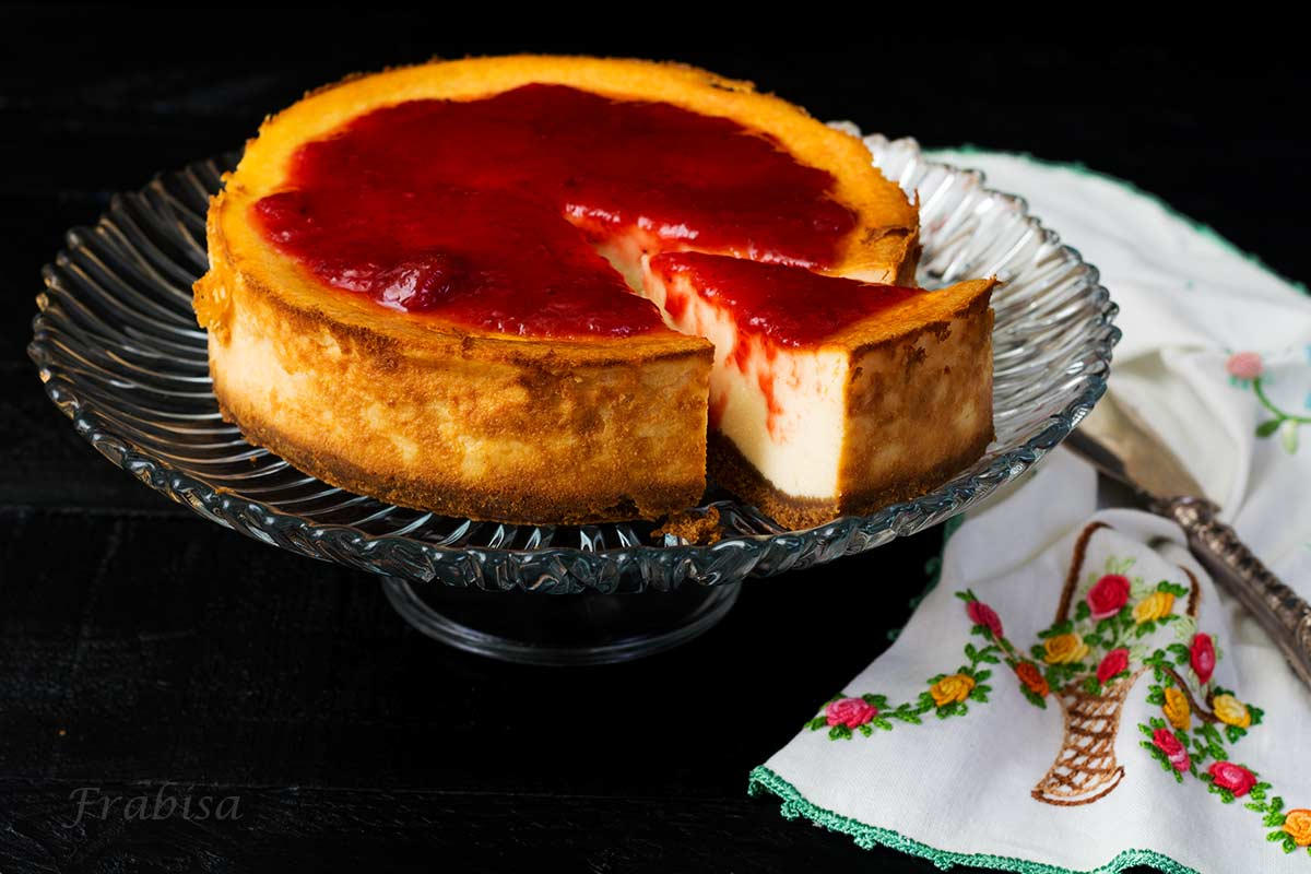 cheesecake-new york, mermelada de fresas, tarta de queso