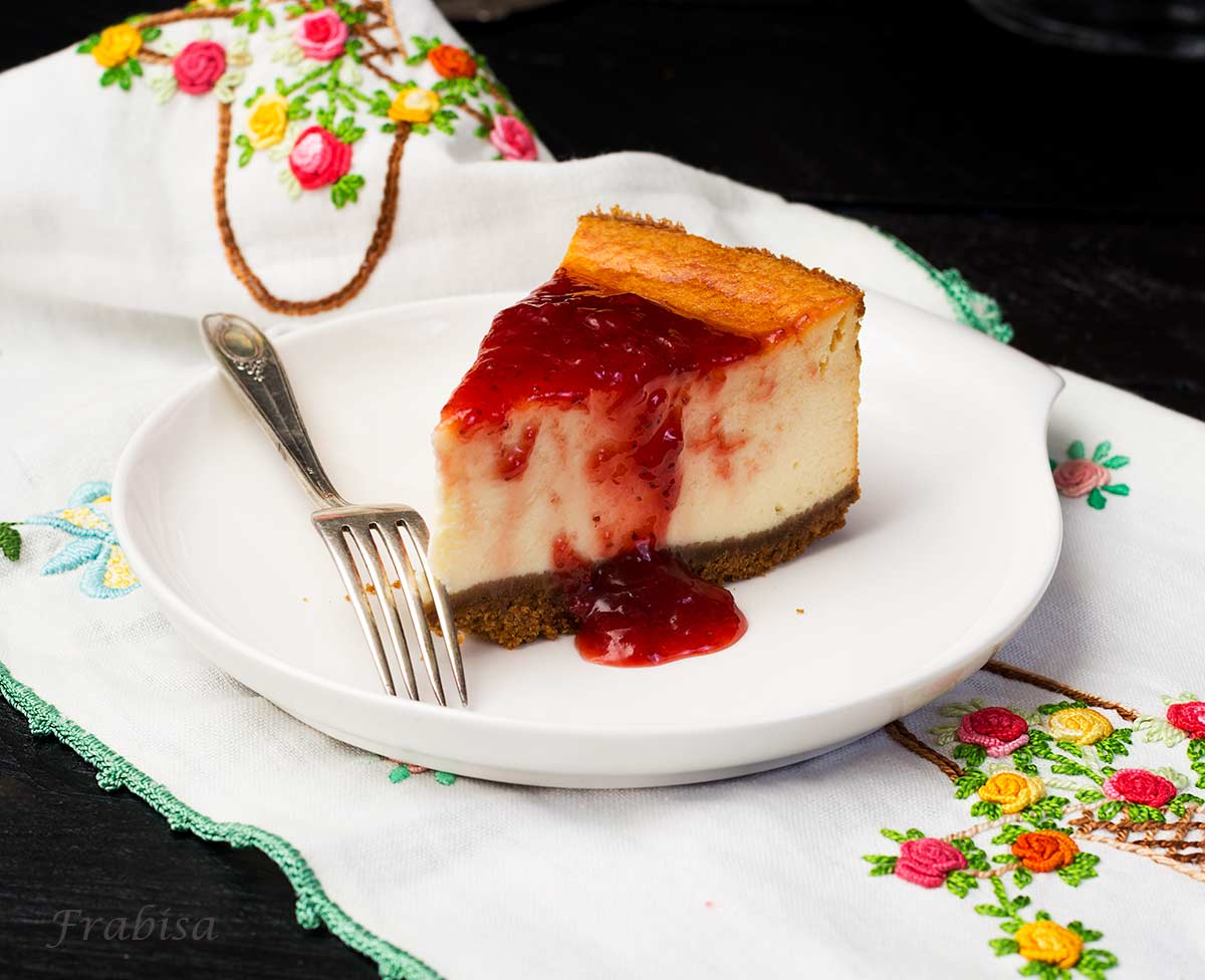 cheesecake-new york, mermelada de fresas, tarta de queso