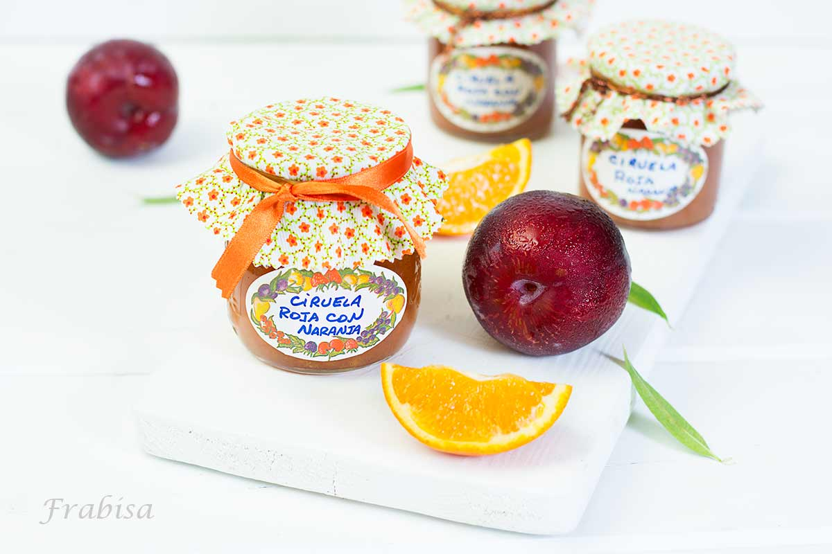 mermelada, ciruelas rojas, naranja, hecho en casa