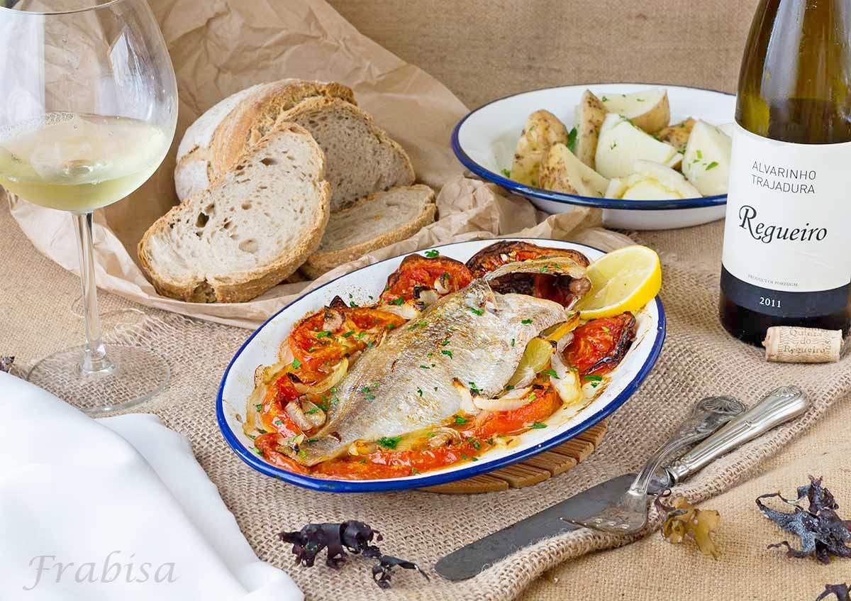 besugo, horno, tomate, cebolla, asado