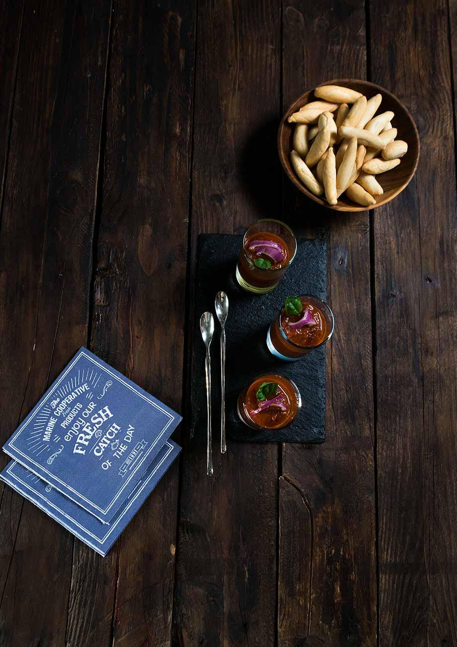 gazpacho, aperitivo, tomates asados